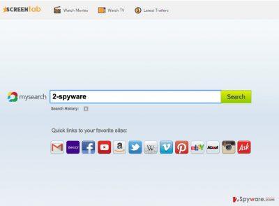 An image of Screen Tab virus website