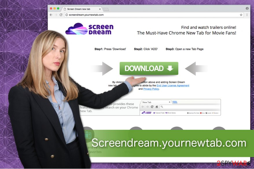 Screendream.yournewtab.com browser hijacker