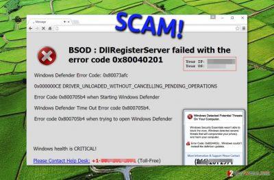 Example showing BSOD Error virus activity