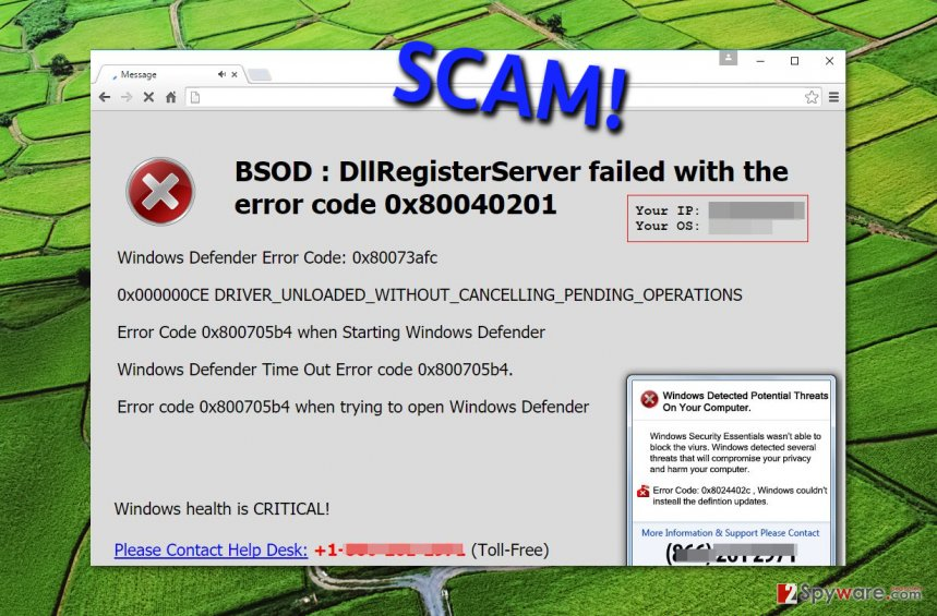 Example showing BSOD Error virus activity