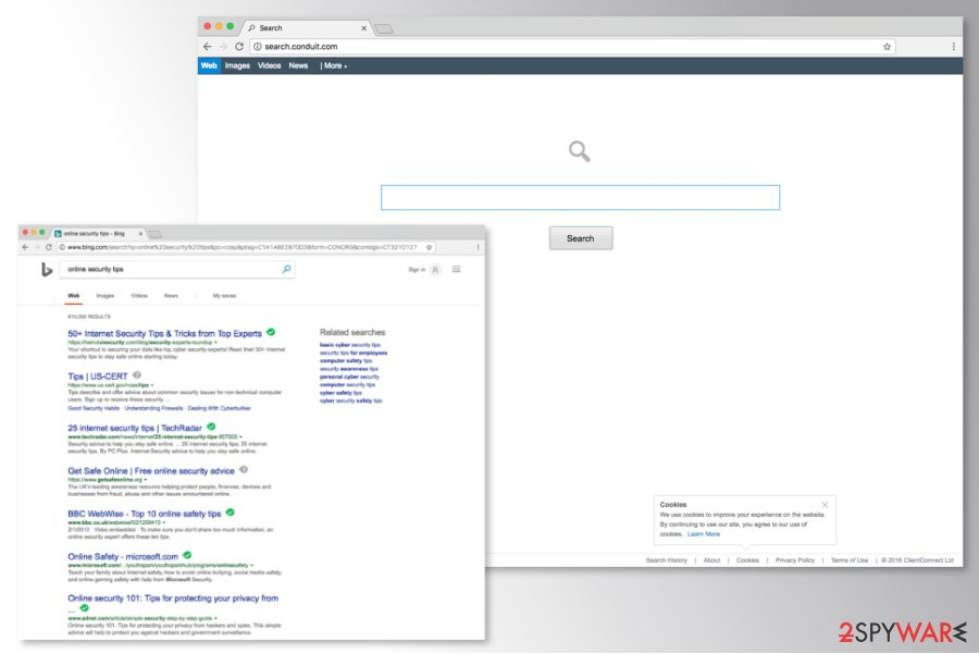 Screenshot of Conduit Search