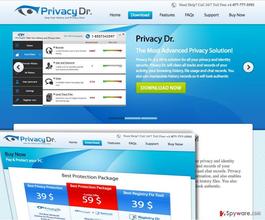 Various slogans praising Privacy Dr software