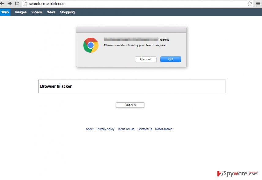 Search.smacklek.com hijacks web browser and replaces homepage