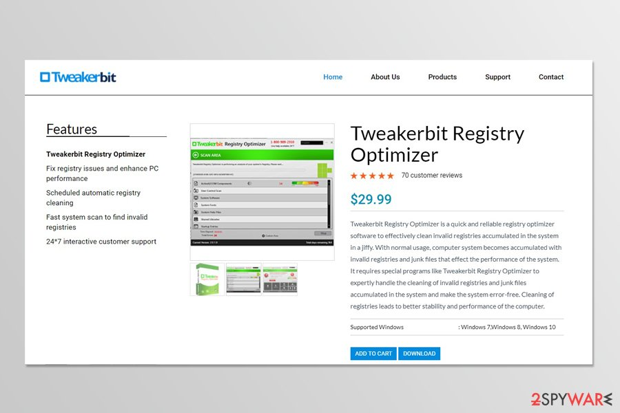 Tweakerbit Registry Optimizer download page