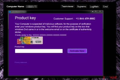 Screenshot of Windows Product Key notification