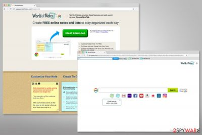 WorldofNotes download page and search engine