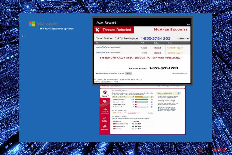 "Screenshot of ""Threats Detected"" Tech support scam"