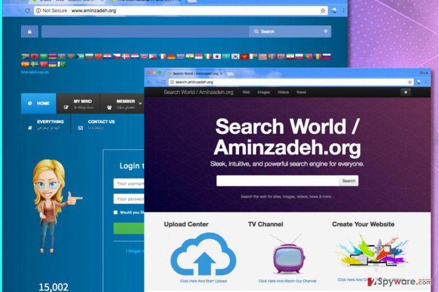 Screenshot of Search.aminzadeh.org virus