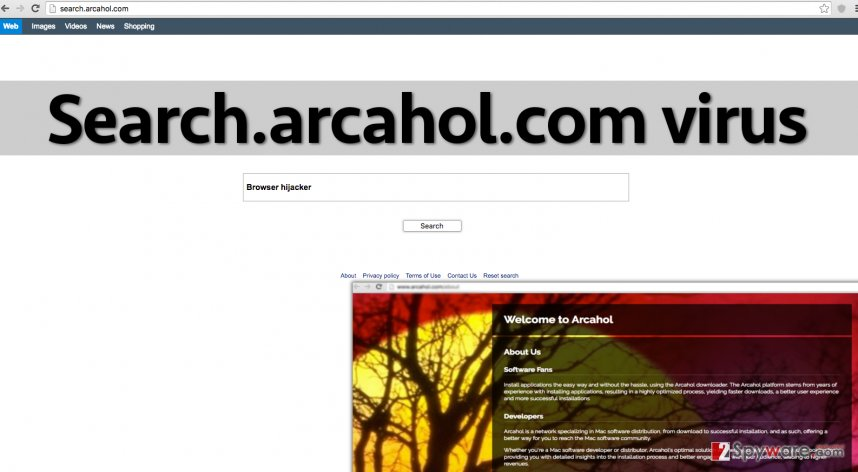 Search.arcahol.com malware