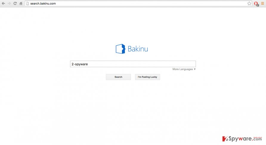 A screenshot of the search.bakinu.com virus website