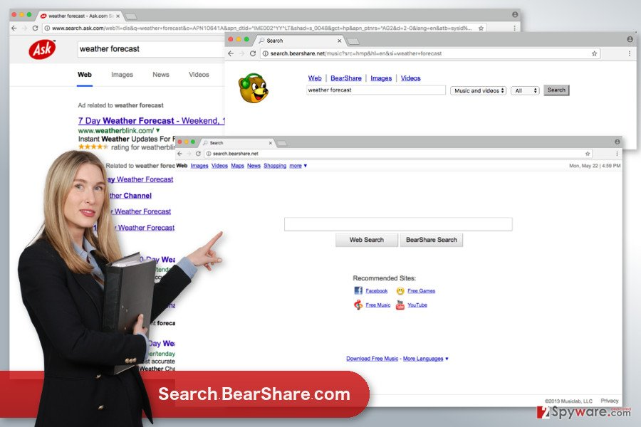 The image of Search.BearShare.com virus