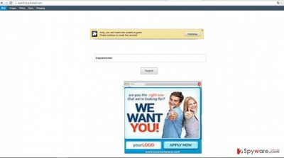 The image showing search.boydubed.com virus