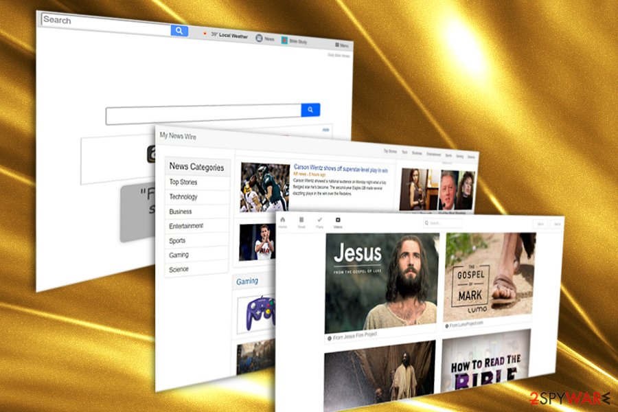The picture displaying search.dailybibleverses.co hijacker
