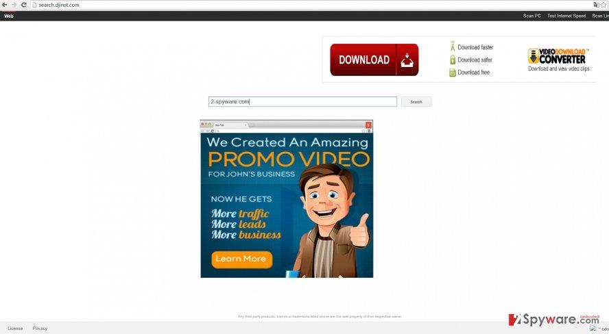 The screenshot of search.djinst.com virus