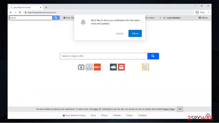Search.easytelevisionaccess.com hijacker