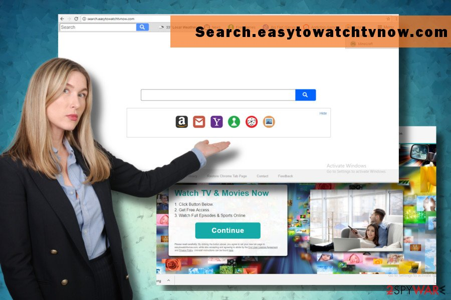 Search.easytowatchtvnow.com redirects might expose to potentially dangerous content