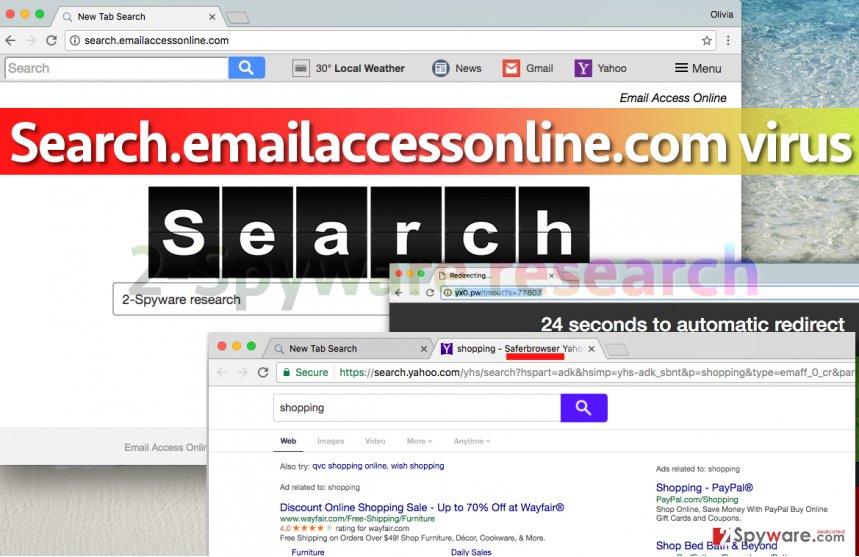 Search.emailaccessonline.com virus hijacks Google Chrome
