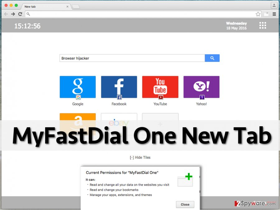 MyFastDial One New Tab redirect virus presents a corrupted search engine