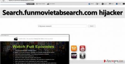 Screenshot of Search.funmovietabsearch.com redirect virus