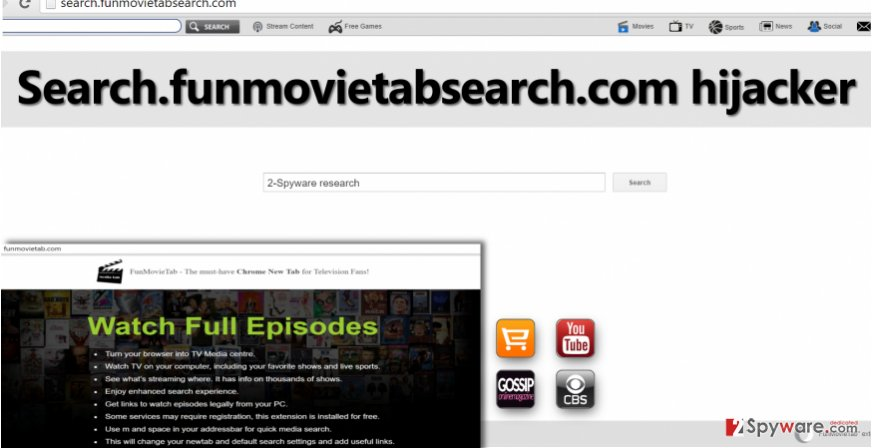 Search.funmovietabsearch.com redirect virus in Chrome
