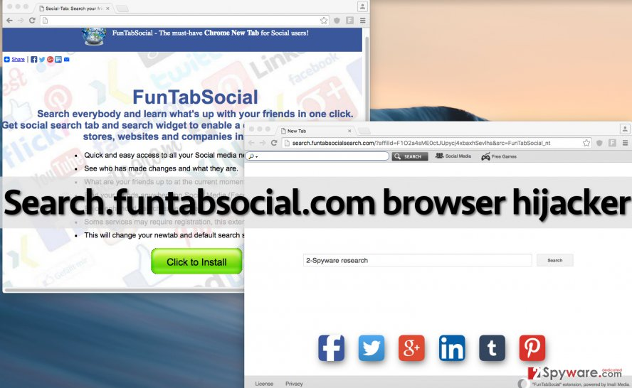Search.funtabsocial.com hijacker changes browser settings and replaces home page address