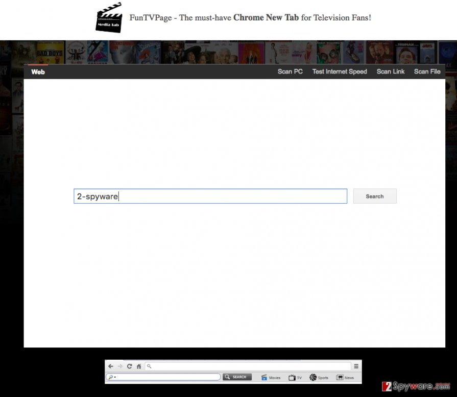 A screenshot of the Search.funtvpage.com virus