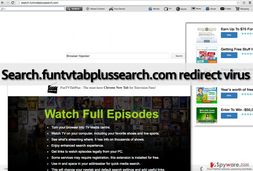 Screenshot of Search.funtvtabplussearch.com virus