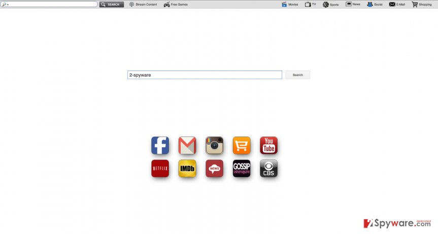 An image of search.funtvtabsearch.com virus website