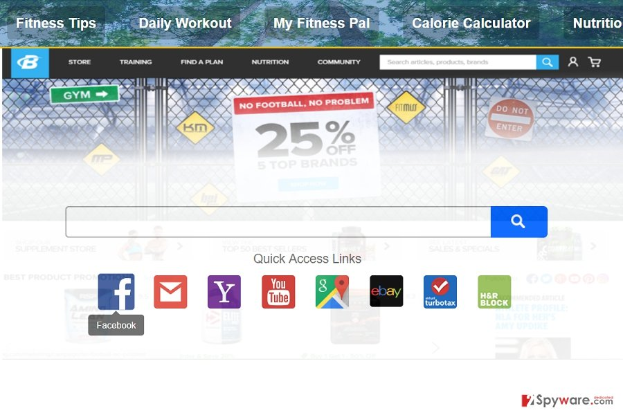 The image revealing search.getfitnow.co