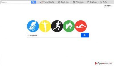 A screenshot of Search.gomaps.co browser hijacker virus