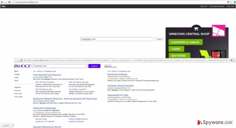The image revealing search.greatsocialtab.com virus