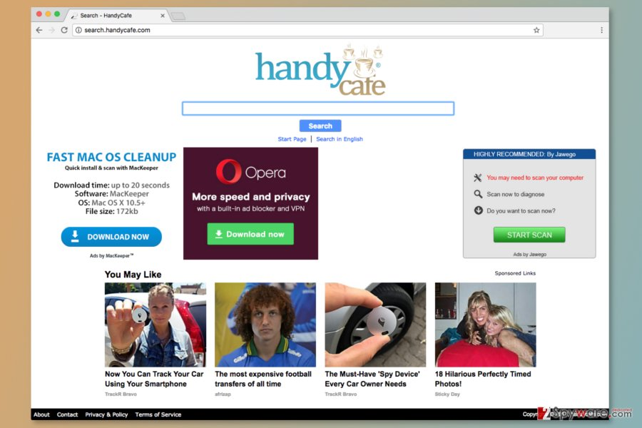 The screenshot of Search.handycafe.com