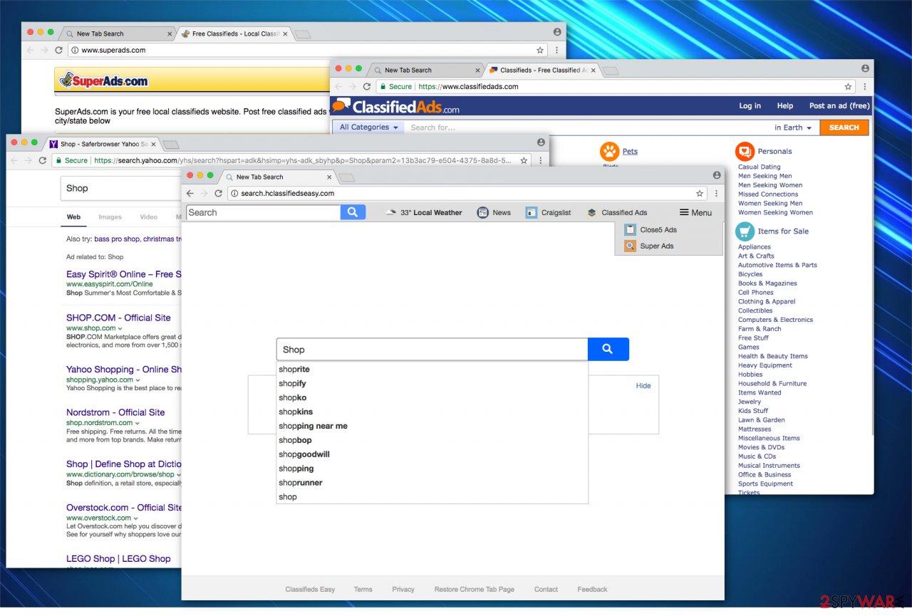 Search.hclassifiedseasy.com browser hijack