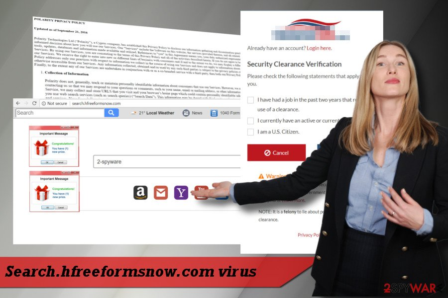 Printscreen of Search.hfreeformsnow.com PUP