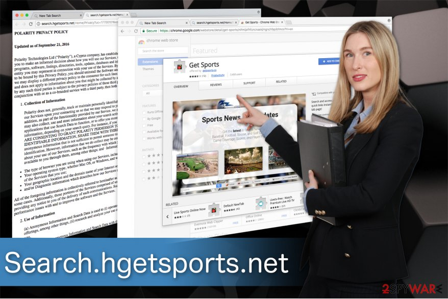 The illustration of Search.hgetsports.net browser hijacker