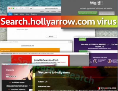 Picture of Search.hollyarrow.com virus and ads on the screen