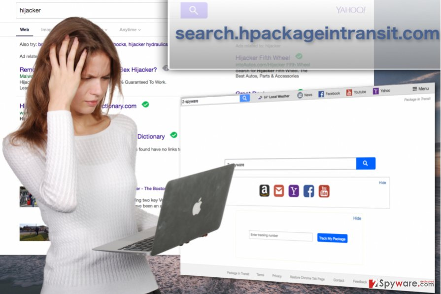 Search.hpackageintransit.com hijacker virus snapshots