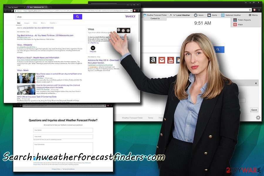 Search.hweatherforecastfinders.com browser hijacker