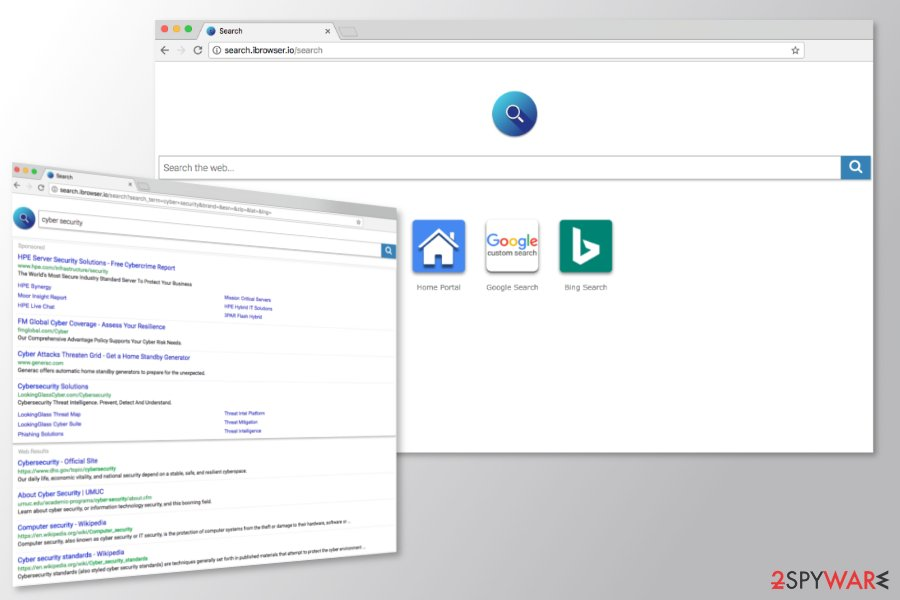 The example of Search.ibrowser.io search engine