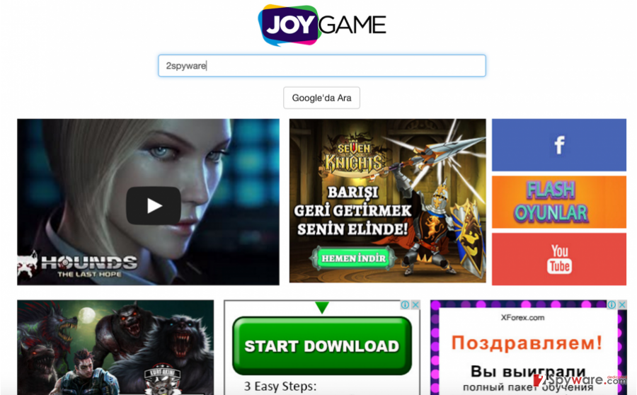 The homepage of JoyGame and fake ads that are displayed on it