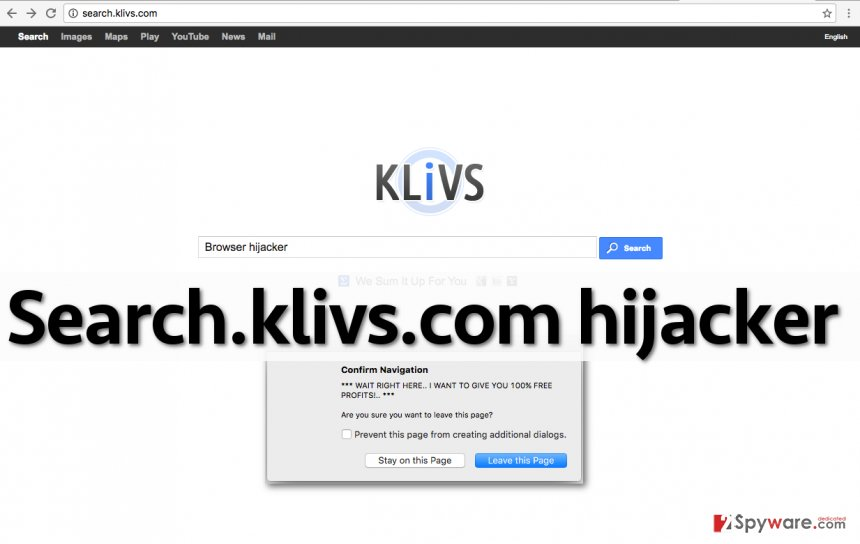 Picture showing Search.klivs.com redirect virus