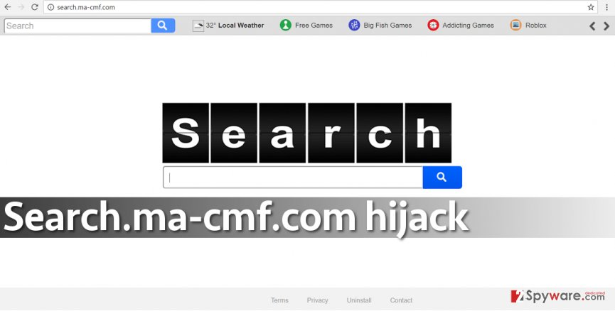 Screenshot of the untrustworthy search engine by Search.ma-cmf.com virus