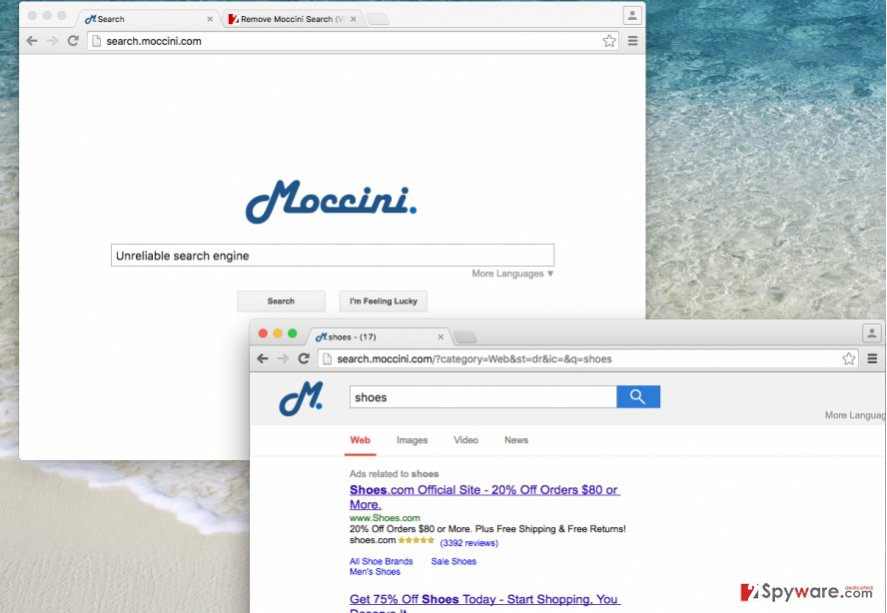 Search.moccini.com browser hijacker changes homepage settings