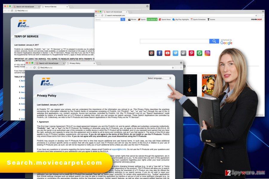 The illustration of Search.moviecarpet.com virus