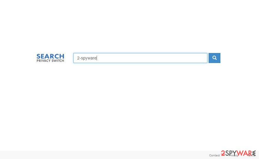 Screenshot of the earch.myprivacyswitch.com hijacker