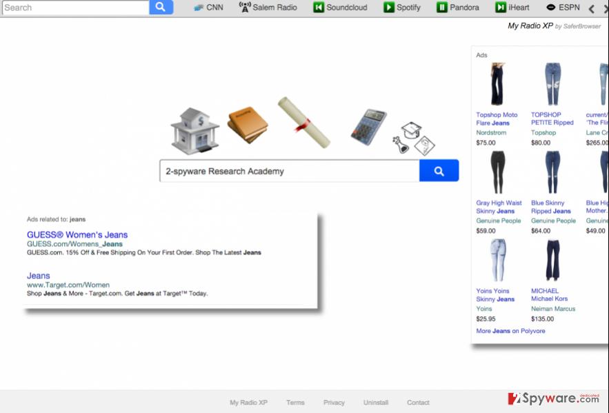 Search.myradioxp.com browser hijacker virus