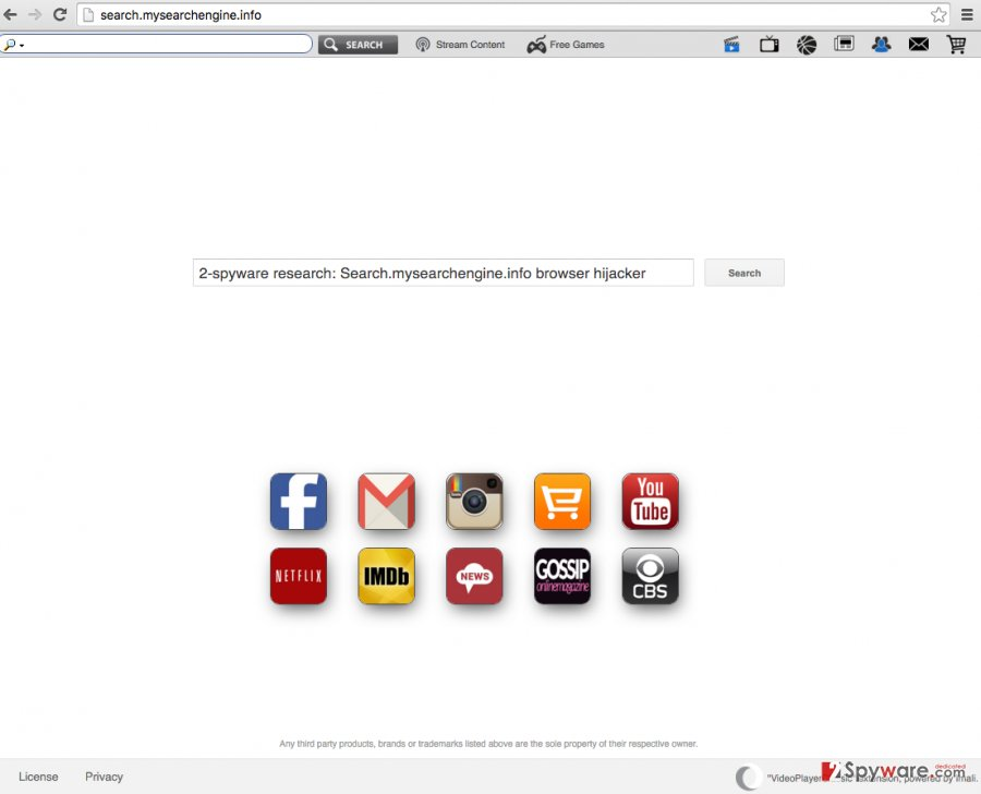 Search.mysearchengine.info bogus search engine