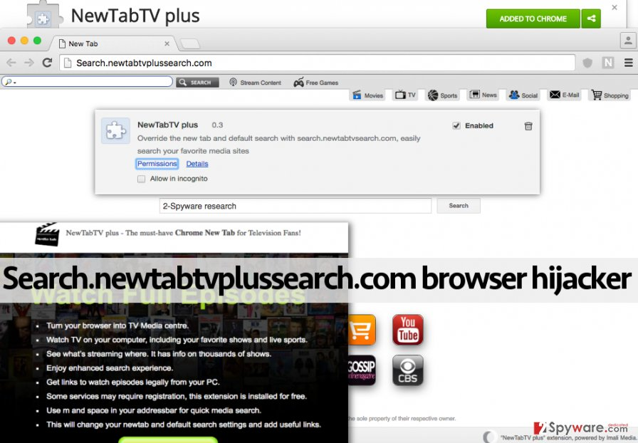 Search.newtabtvplussearch.com redirect virus