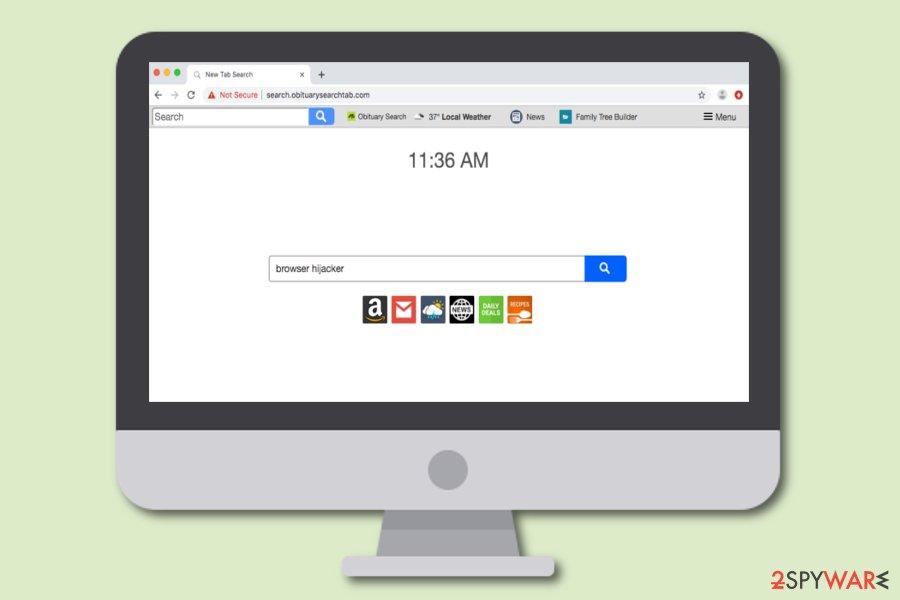 Search.obituarysearchtab.com browser hijacker