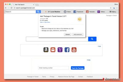Search engine by Search.packageintransit.com virus
